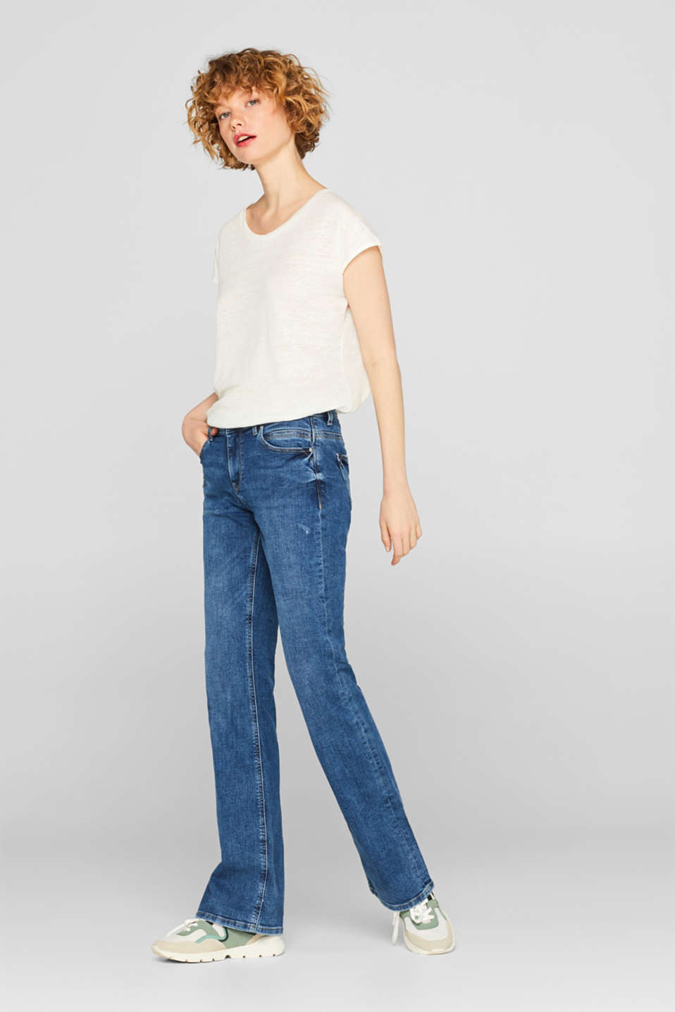Esprit - Bootcut-Stretch-Jeans mit Organic Cotton