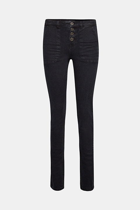 Stretch trousers with a button placket and front pockets