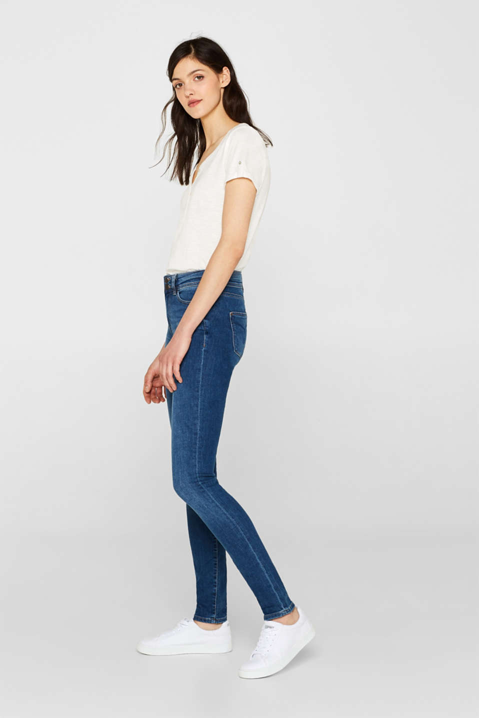 Esprit - Stretch jeans with a wide waistband and two buttons