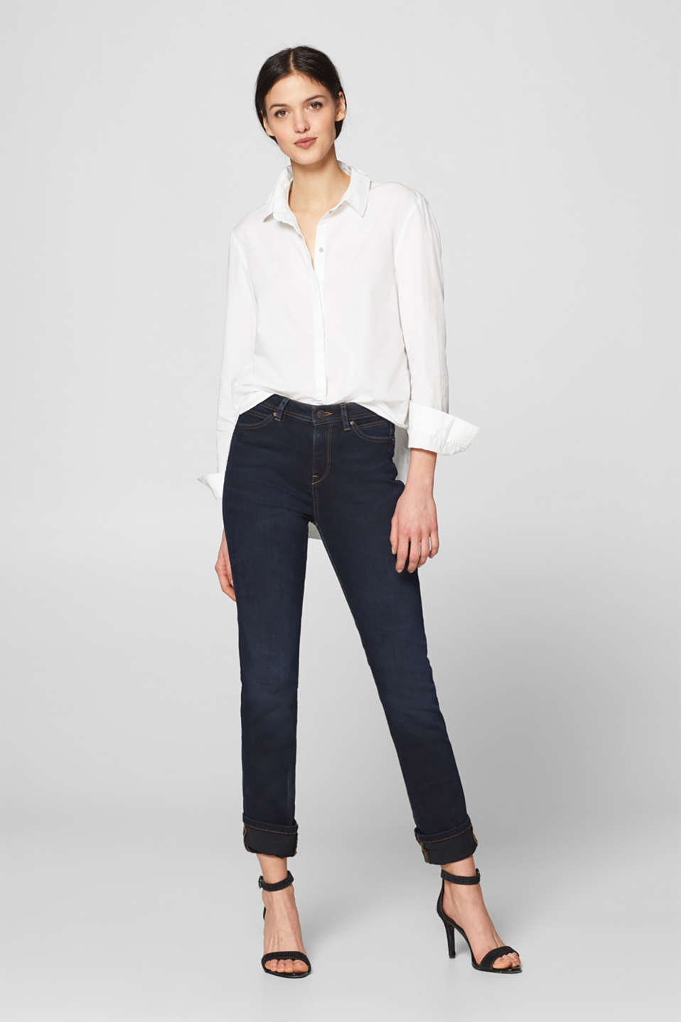 Esprit - Stretch jeans with zigzag stitching
