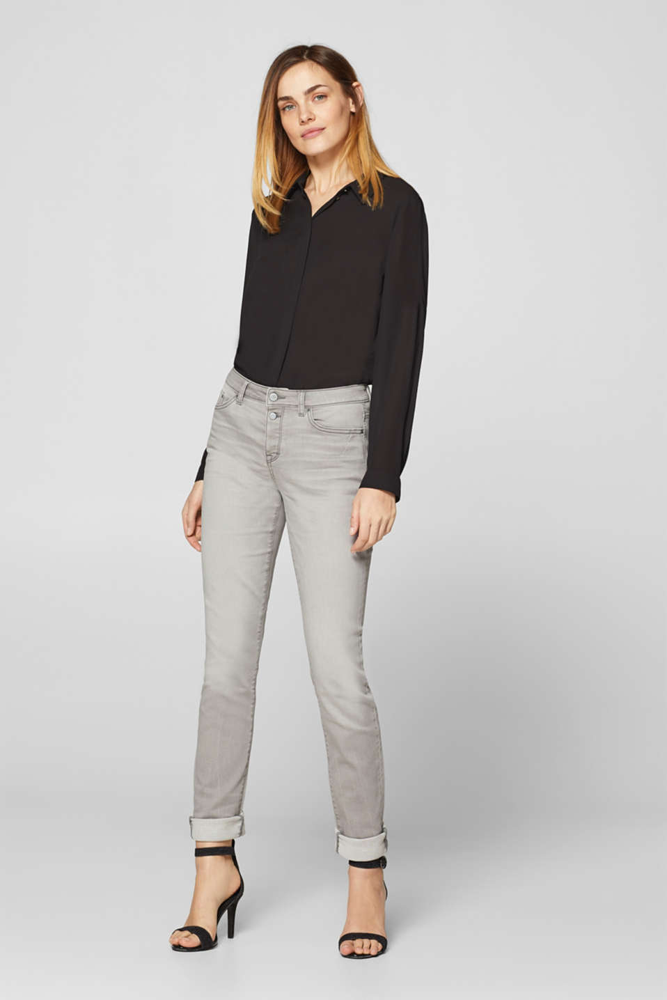 Esprit - Soft stretch jeans with a button placket