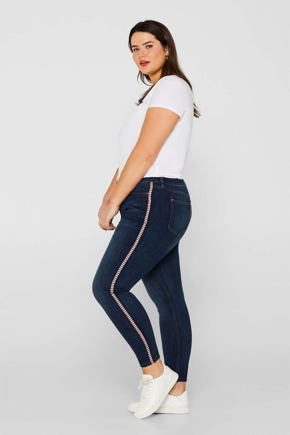 ESPRIT CURVES stretch jeans with decorative woven tape