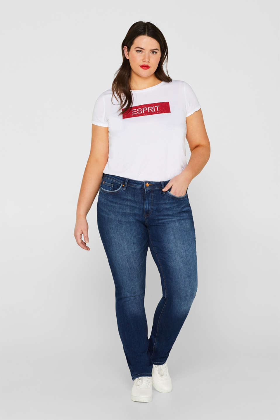 ESPRIT CURVES stretch jeans with washed-out details