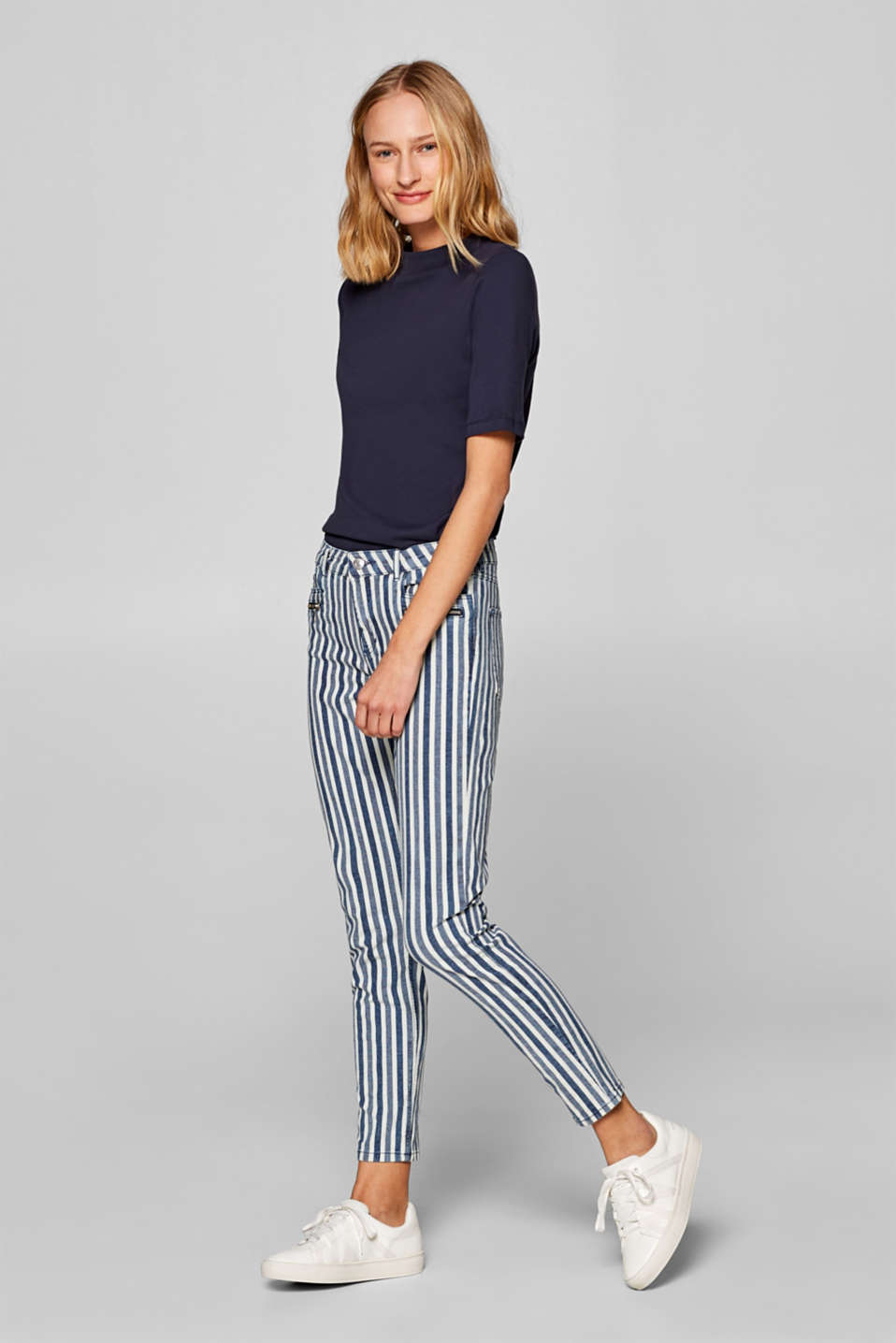 Esprit - Ankle-length stretch jeans with stripes