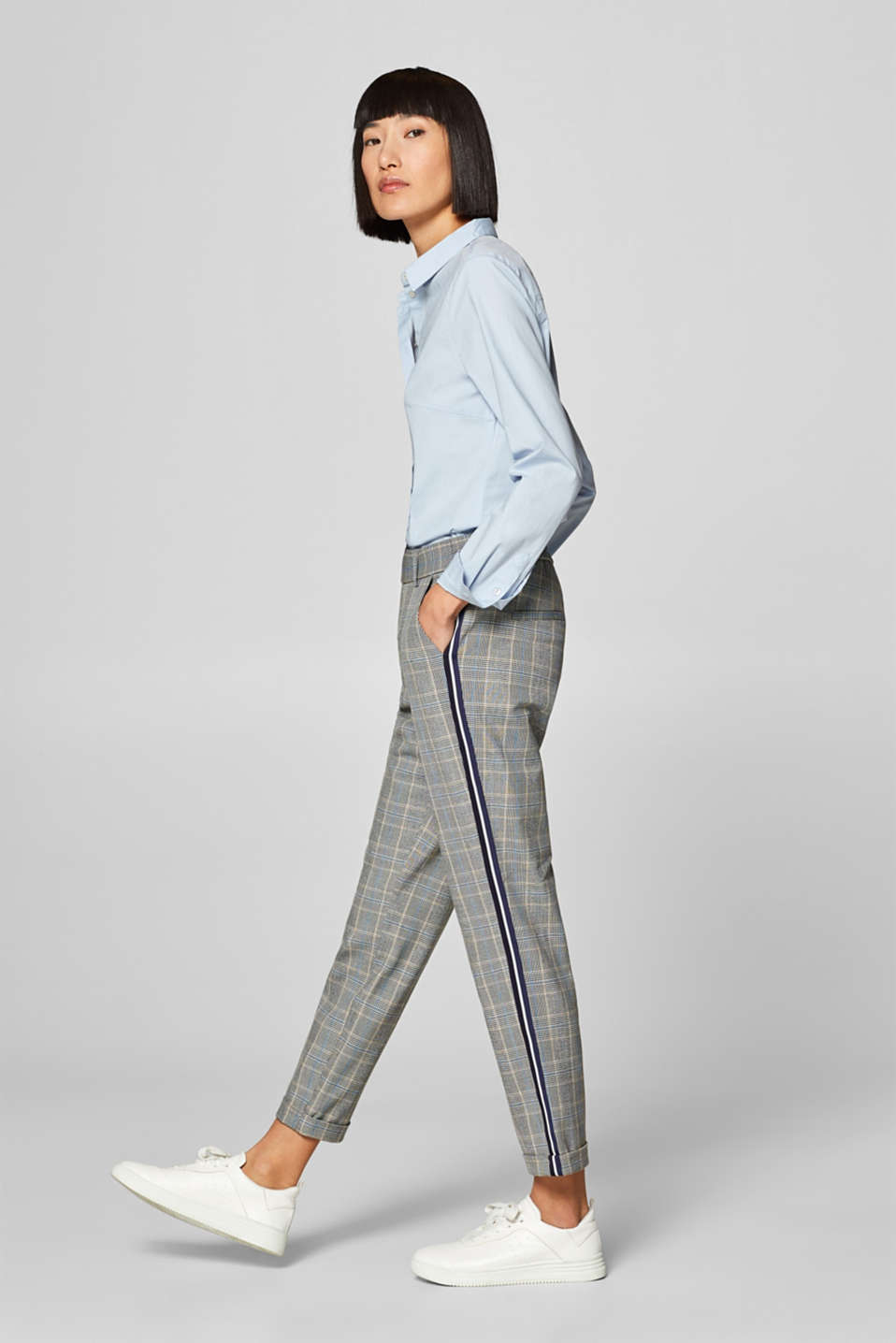 Esprit - Stretch Prince of Wales check trousers with racing stripes