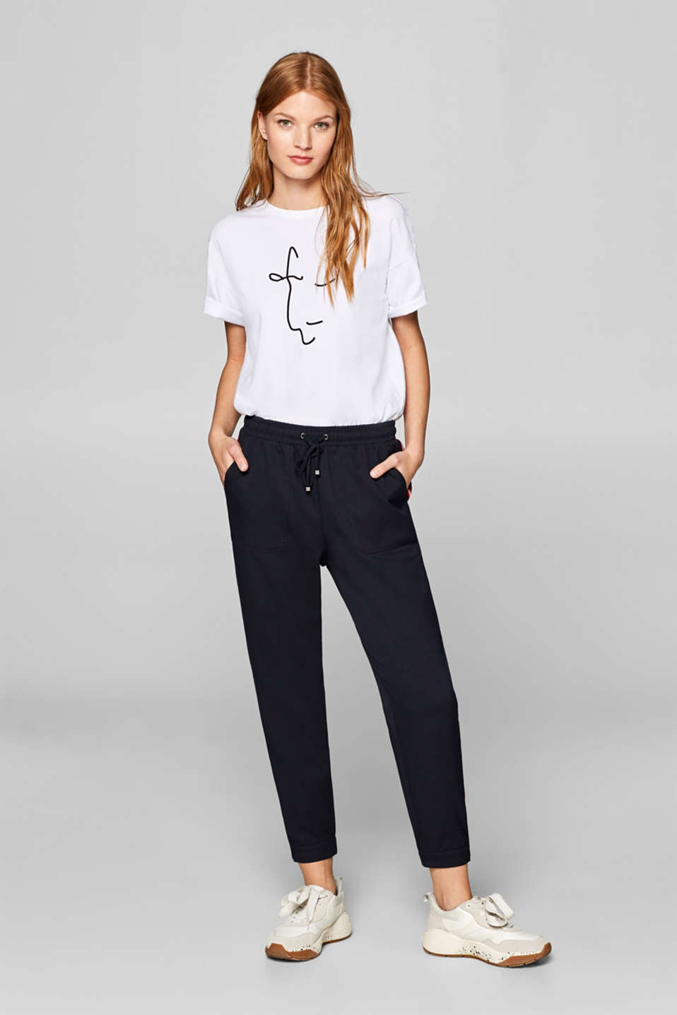 Esprit - Sporty stretch trousers with racing stripes
