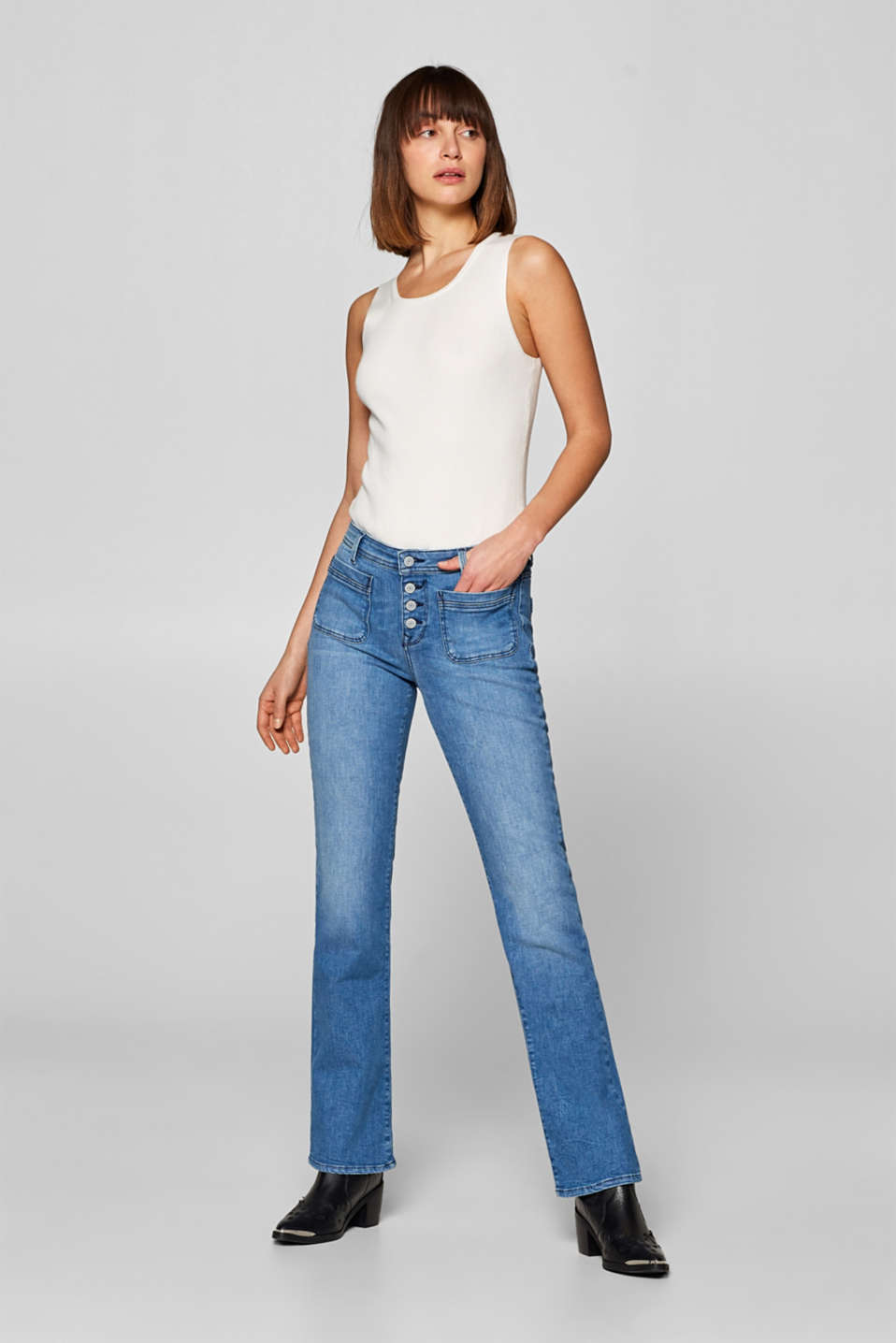 Esprit - Bootcut stretch jeans with button fly