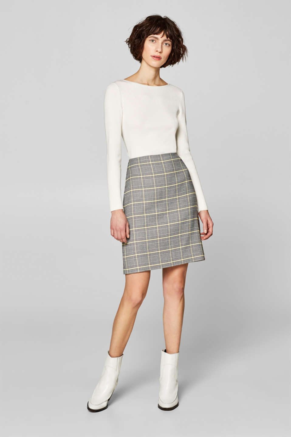 Esprit - Skirt with a houndstooth check pattern