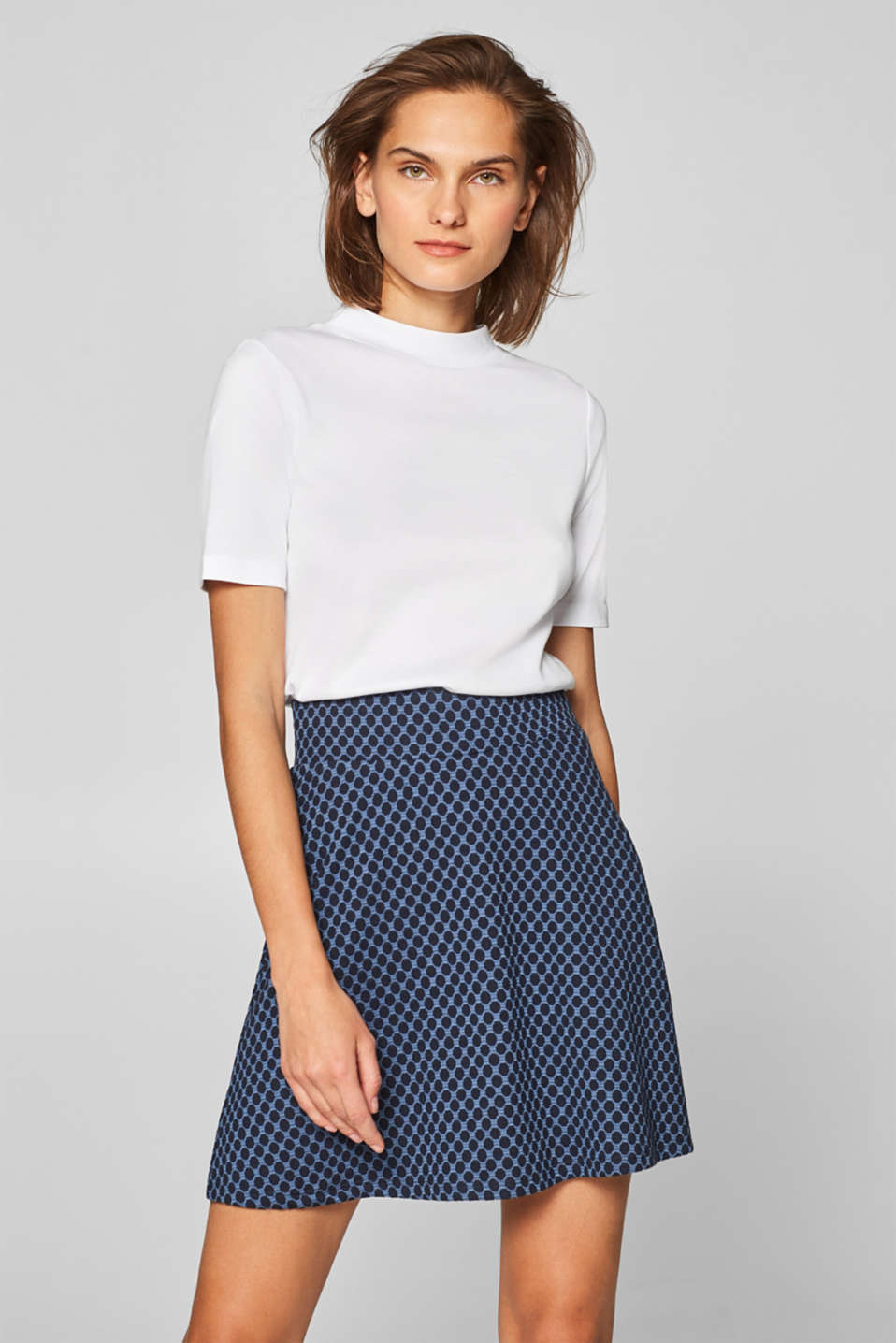 Esprit - Stretch jersey skirt with jacquard polka dots
