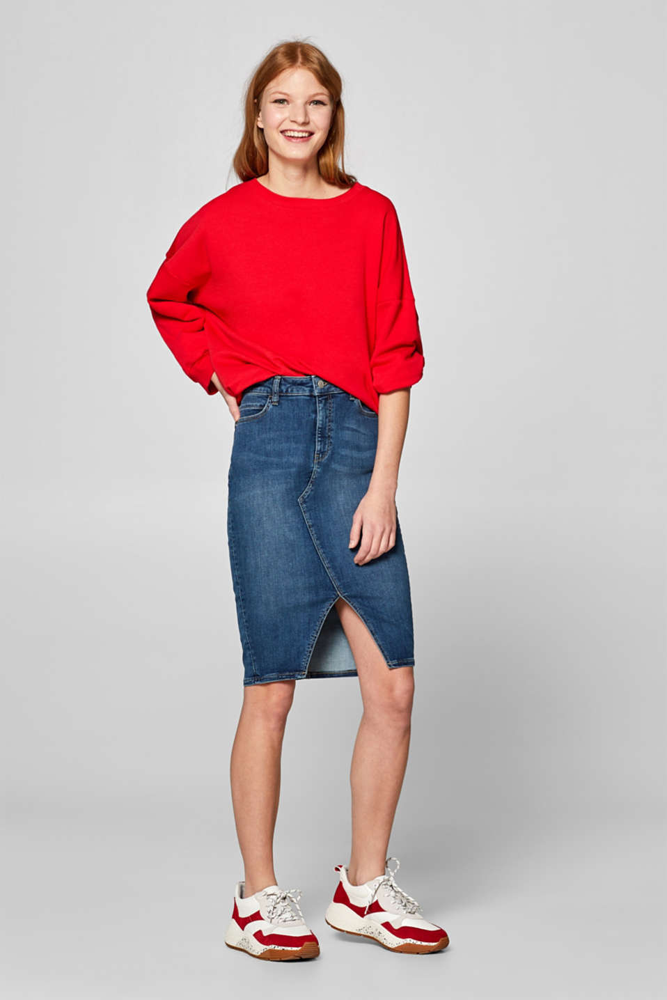 Esprit - Stretch denim skirt with a front slit