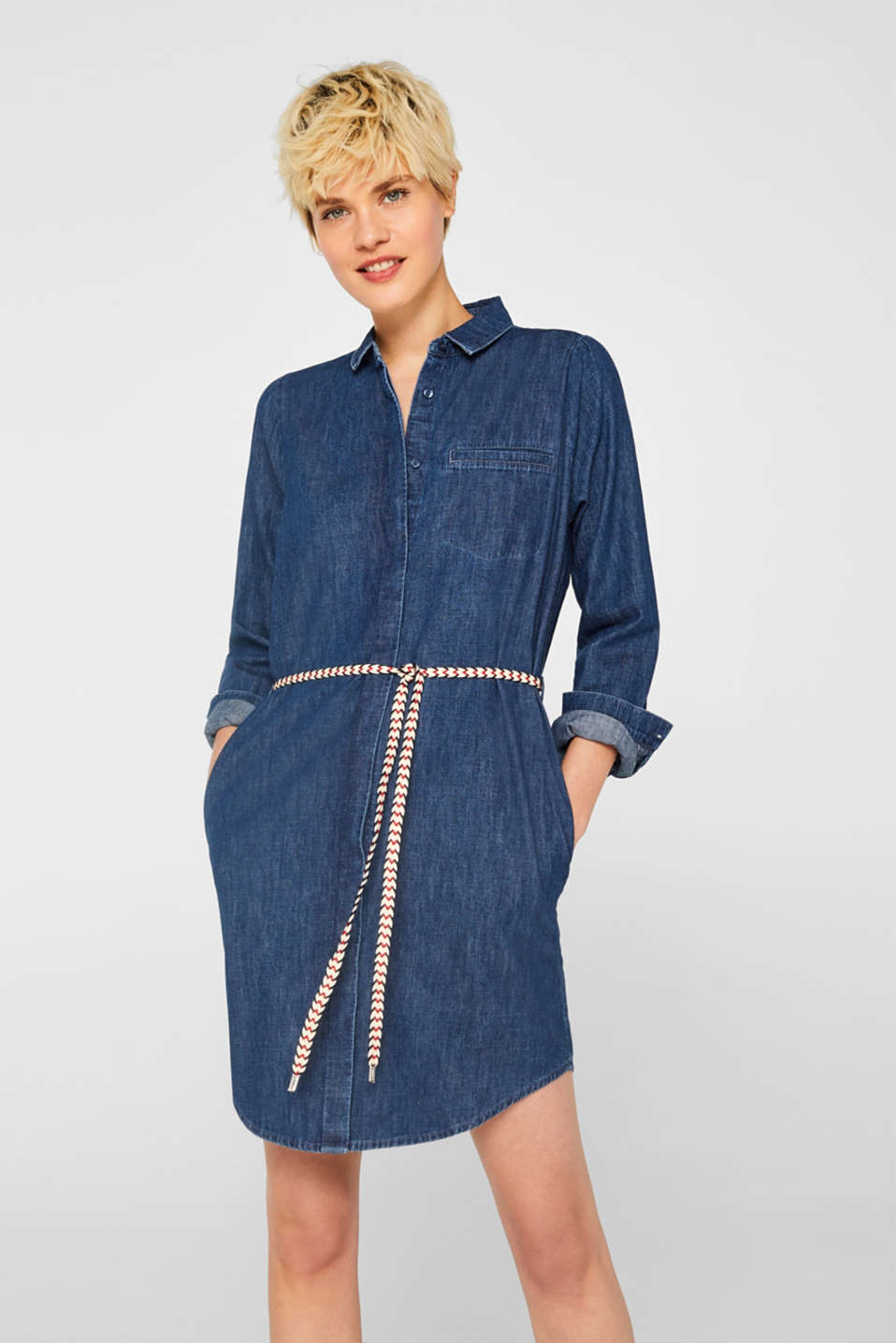 Esprit - Denim shirt dress with braided belt