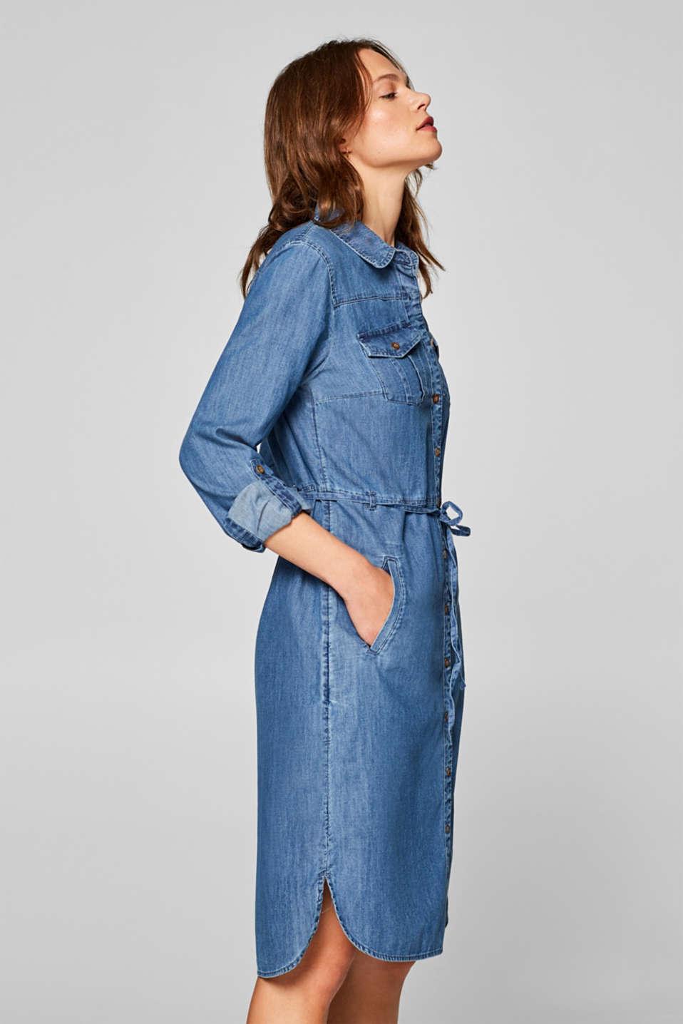Esprit - Lätt jeansklänning med knytskärp i Esprits Online-Shop daa964c9c5999