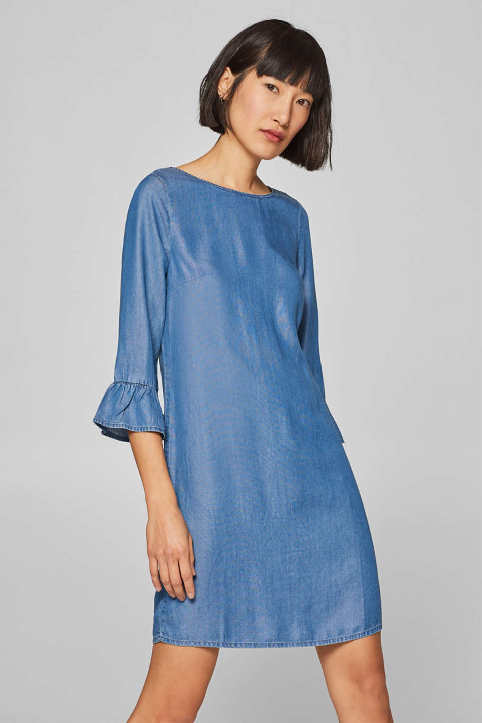 Esprit - Dress with flounce sleeves, 100% lyocell
