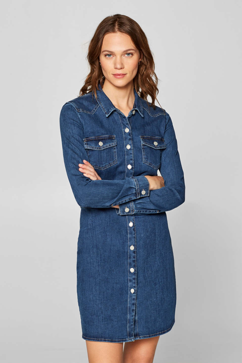 Esprit - Denim jurk met stretch en doorknoopsluiting