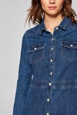 548a6075574a Esprit - Stretchig jeansklänning med hellång knäppning i Esprits ...