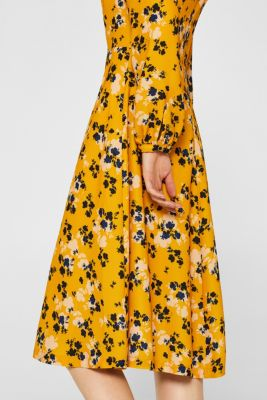 6842b9cb207f Esprit - Midi-kjole med blomsterprint i Esprits Online-Shop
