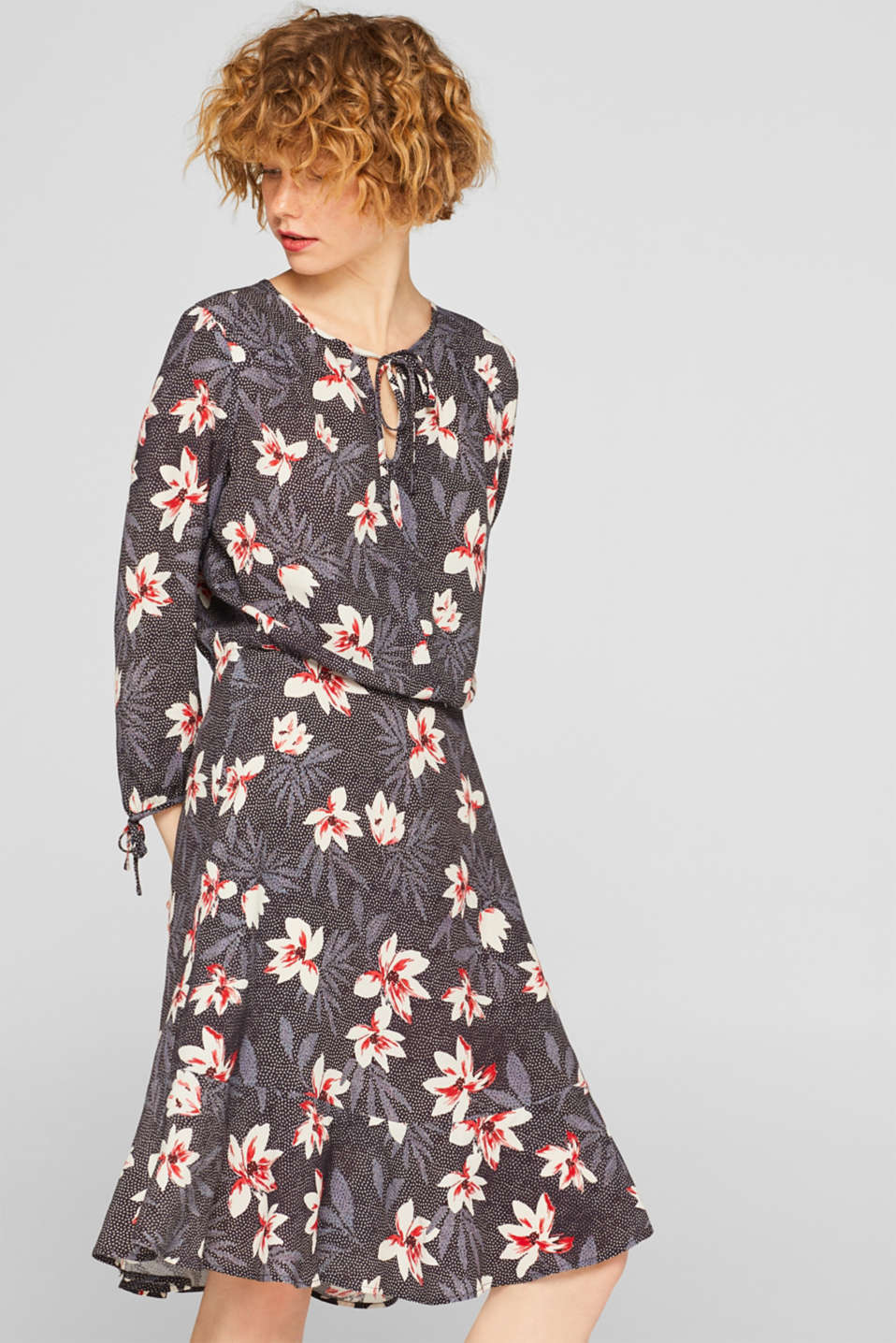 Esprit - Printed dress with bow sleeves