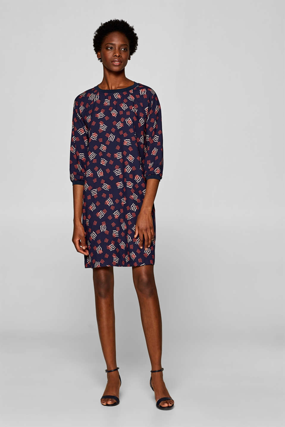 Esprit - Woven dress with print and ribbed borders