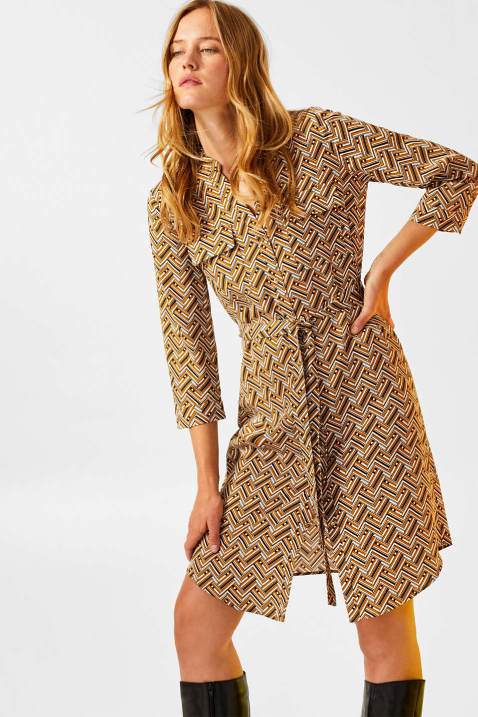 Esprit - Shirt dress with a print made of 100% lyocell