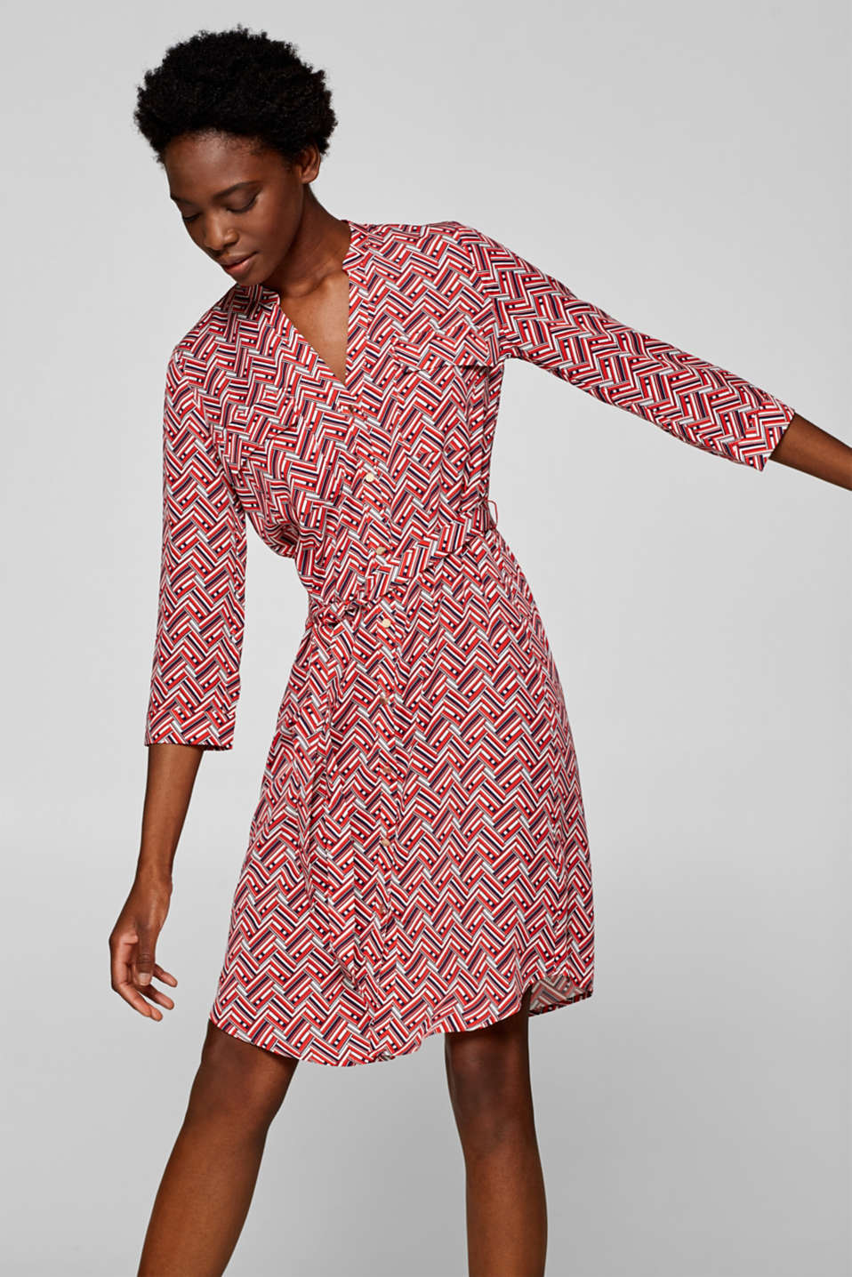Esprit - Shirt dress with a print, 100% lyocell