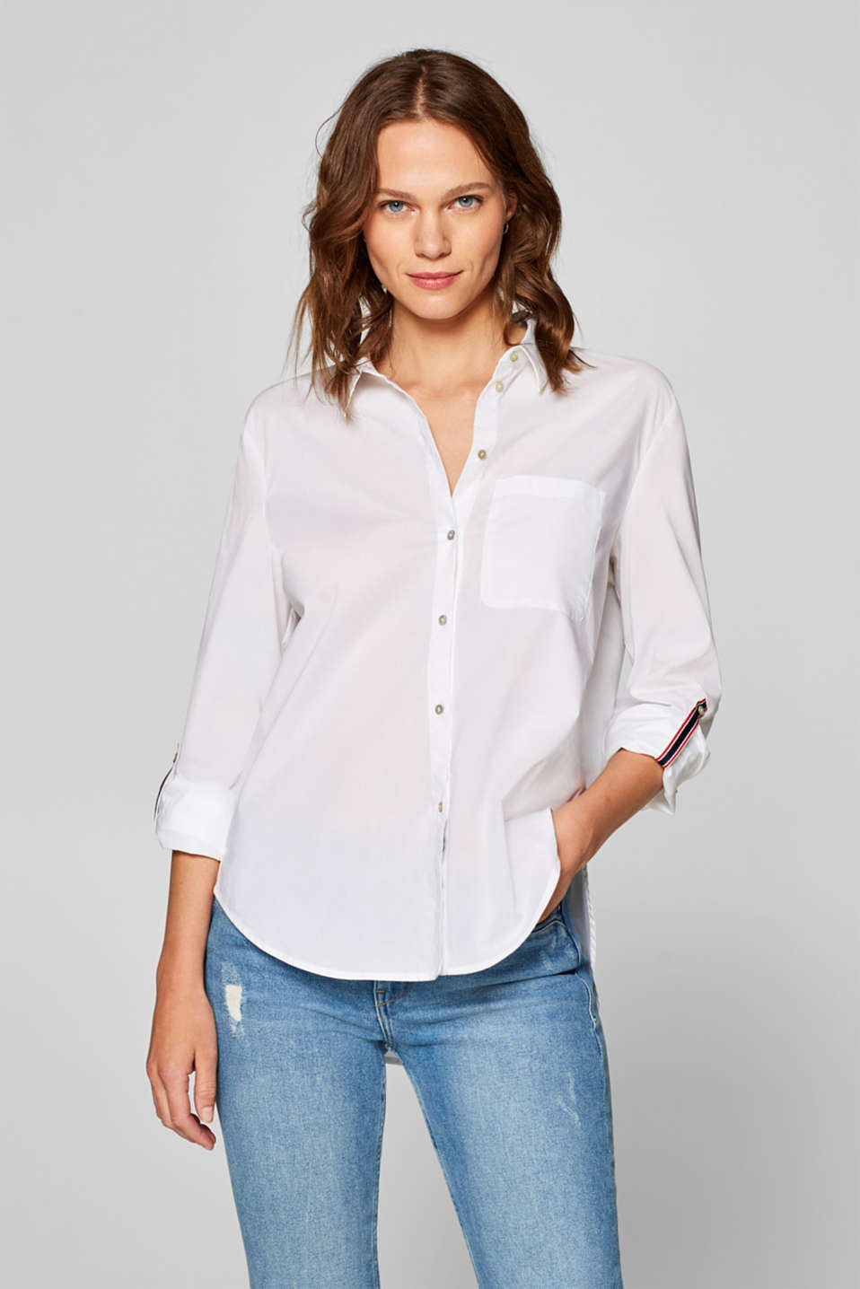 Esprit - Shirt blouse with woven tape details, 100% cotton