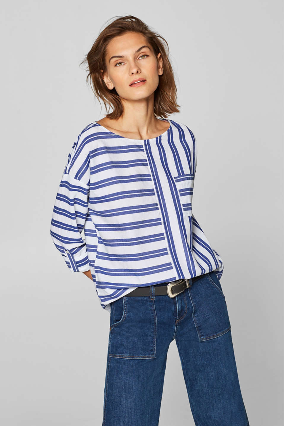 Esprit - 100% cotton blouse with striped turn-up sleeves