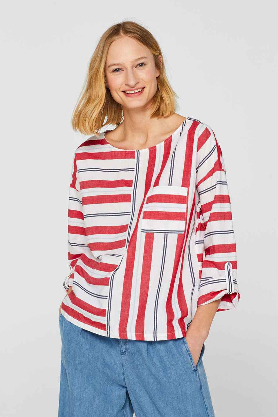 Esprit - Gestreifte Turn-up-Bluse, 100% Baumwolle