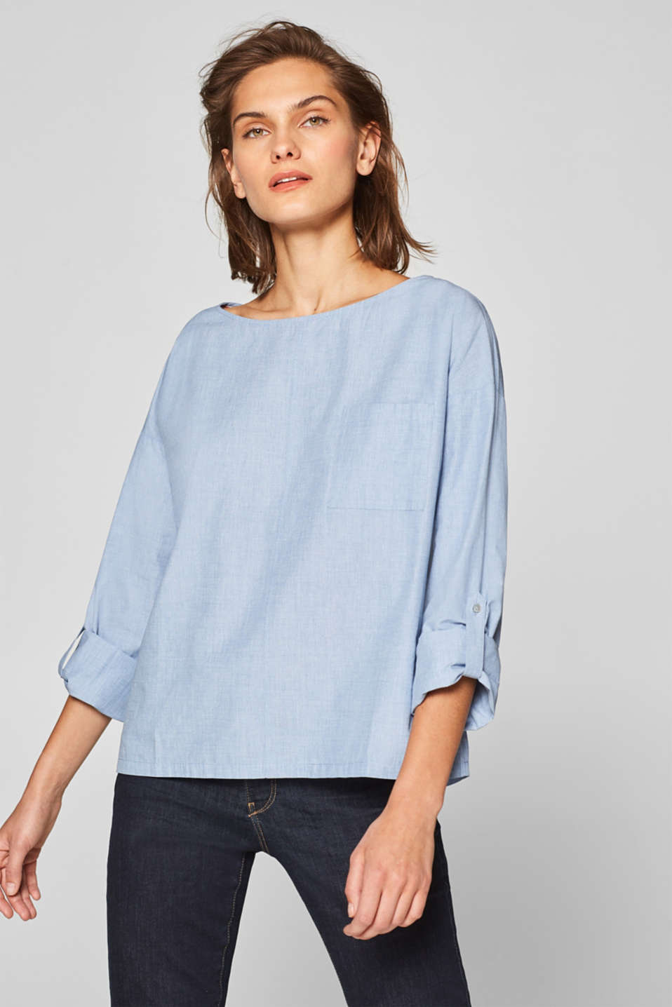 Esprit - Boxy chambray blouse, 100% cotton