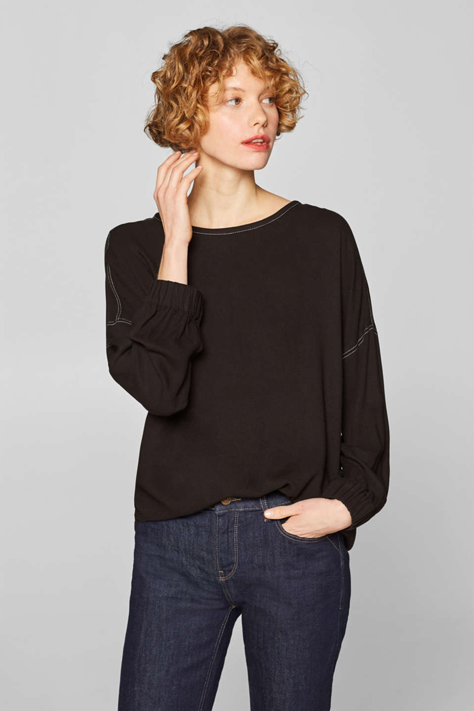 Esprit - Batwing blouse with contrast stitching