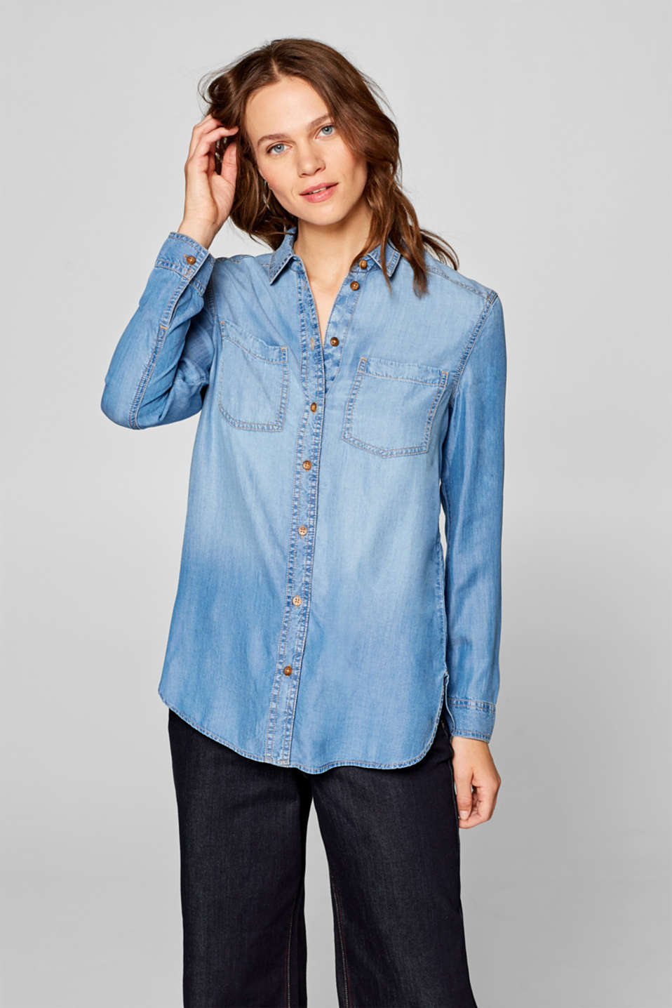 Esprit - Flowing denim blouse made of 100% lyocell