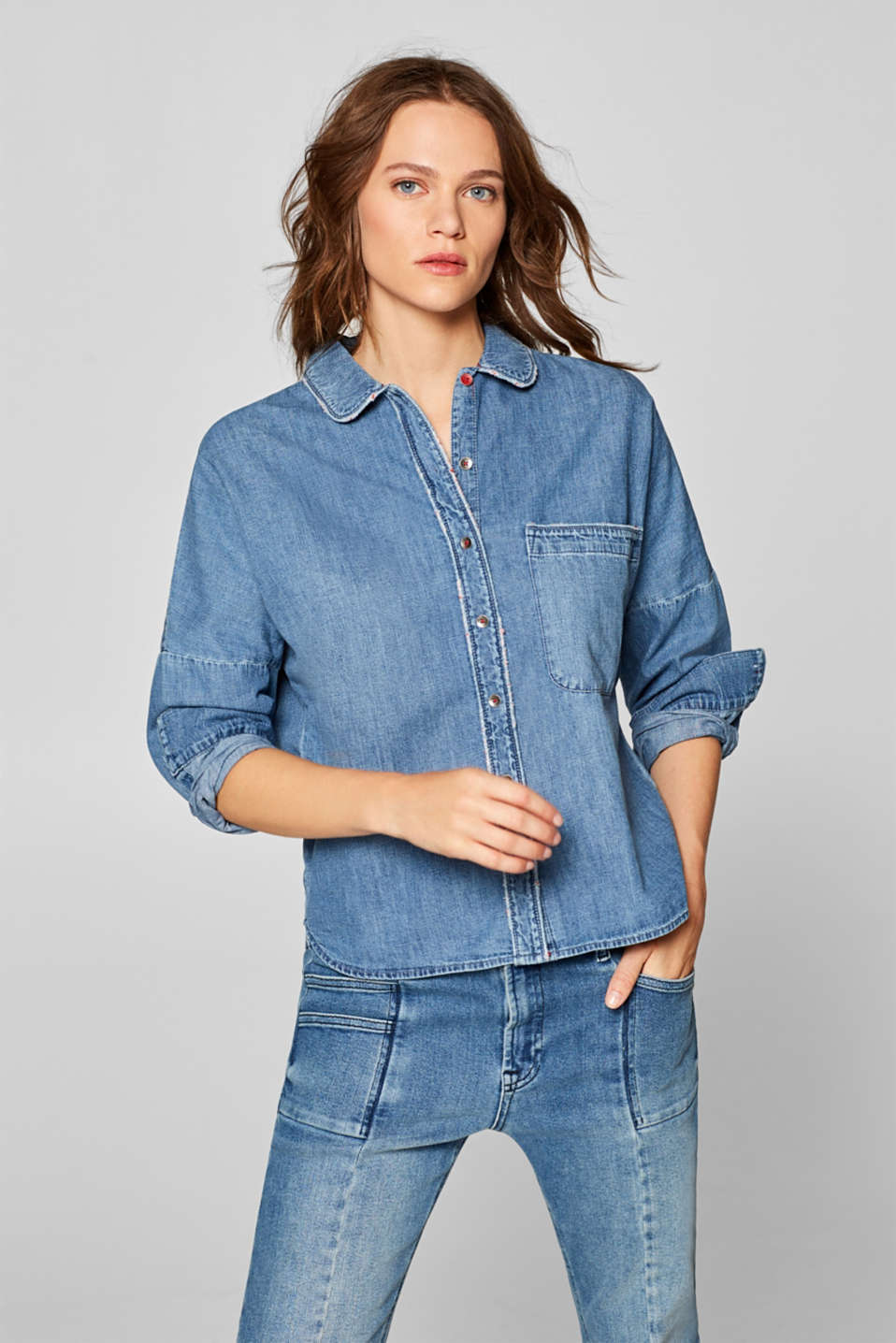 Esprit - Denim shirt with vintage effects, 100% cotton