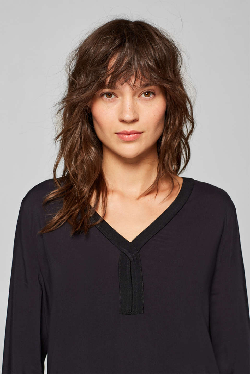Esprit - Blouse with stretchy ribbed trims