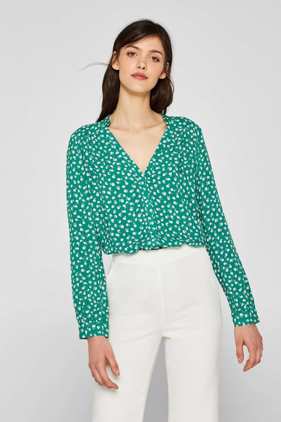 Esprit - Henley blouse with a floral print