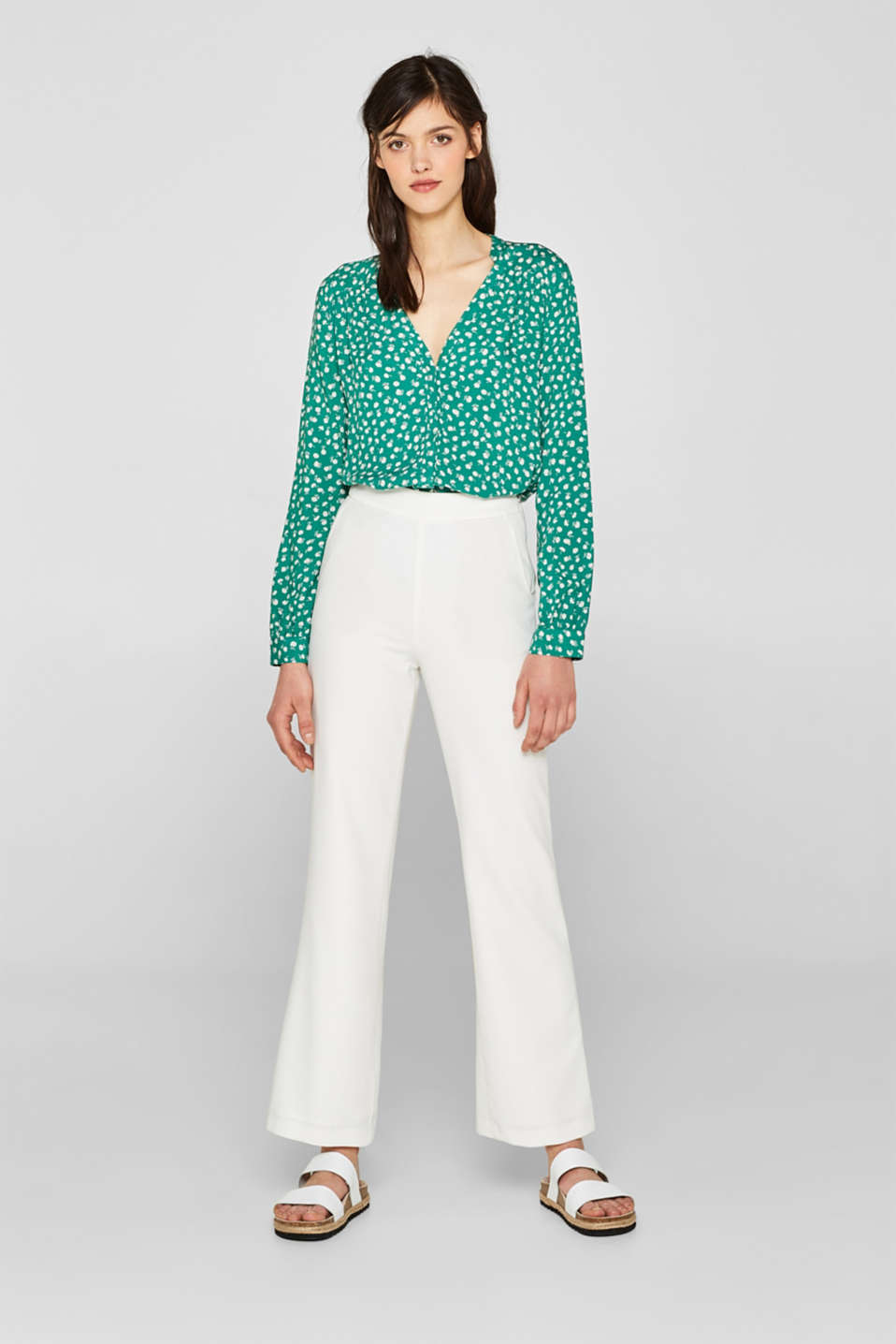 Henley blouse with a floral print, GREEN, detail