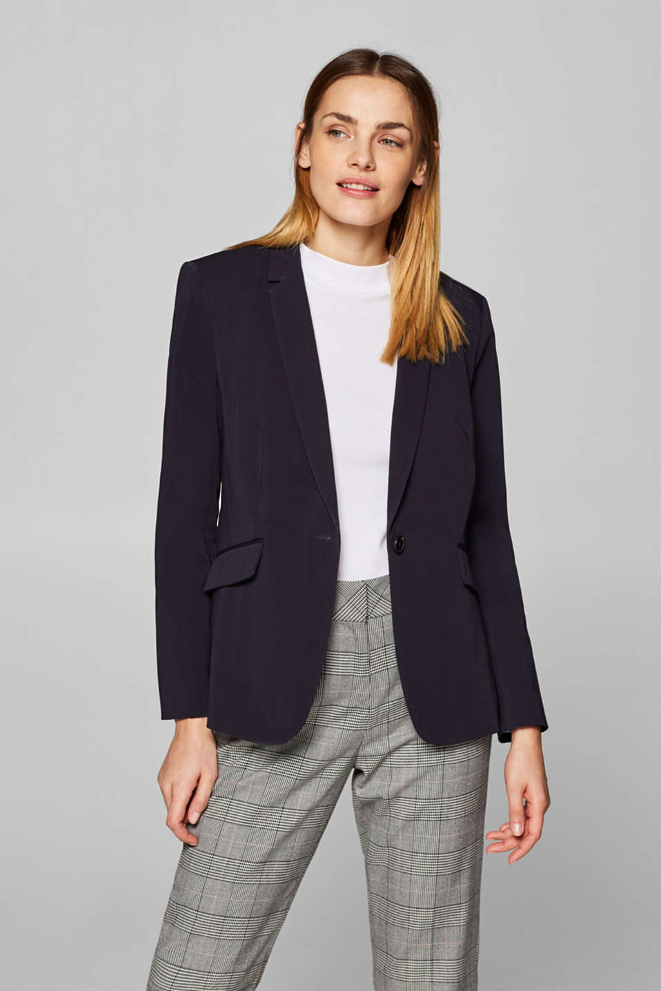Esprit - Figursyet stretchblazer med stribet for