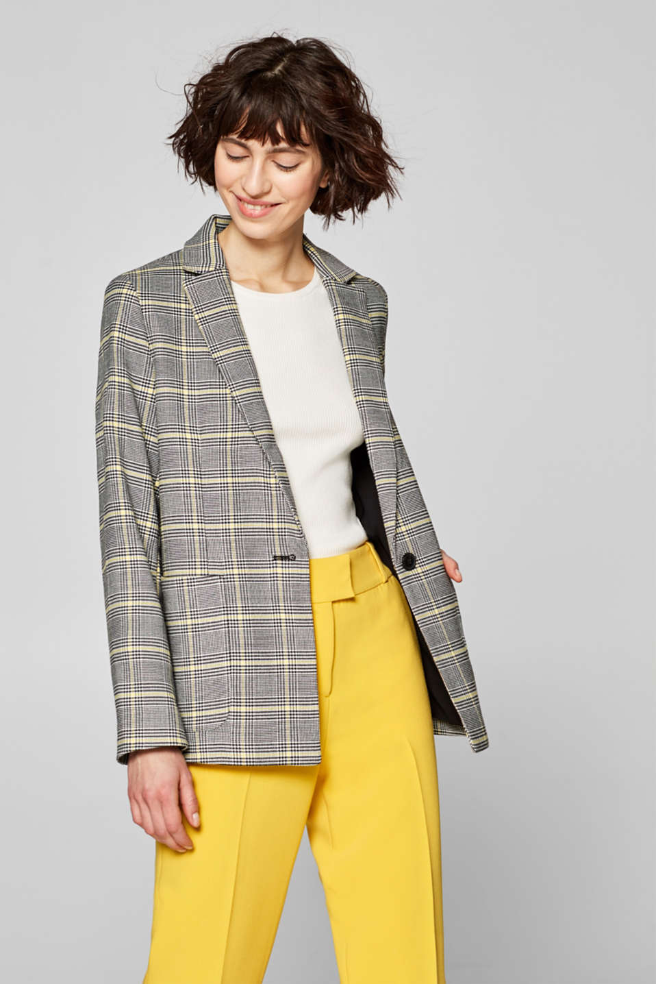 Relaxed blazer with houndstooth check pattern