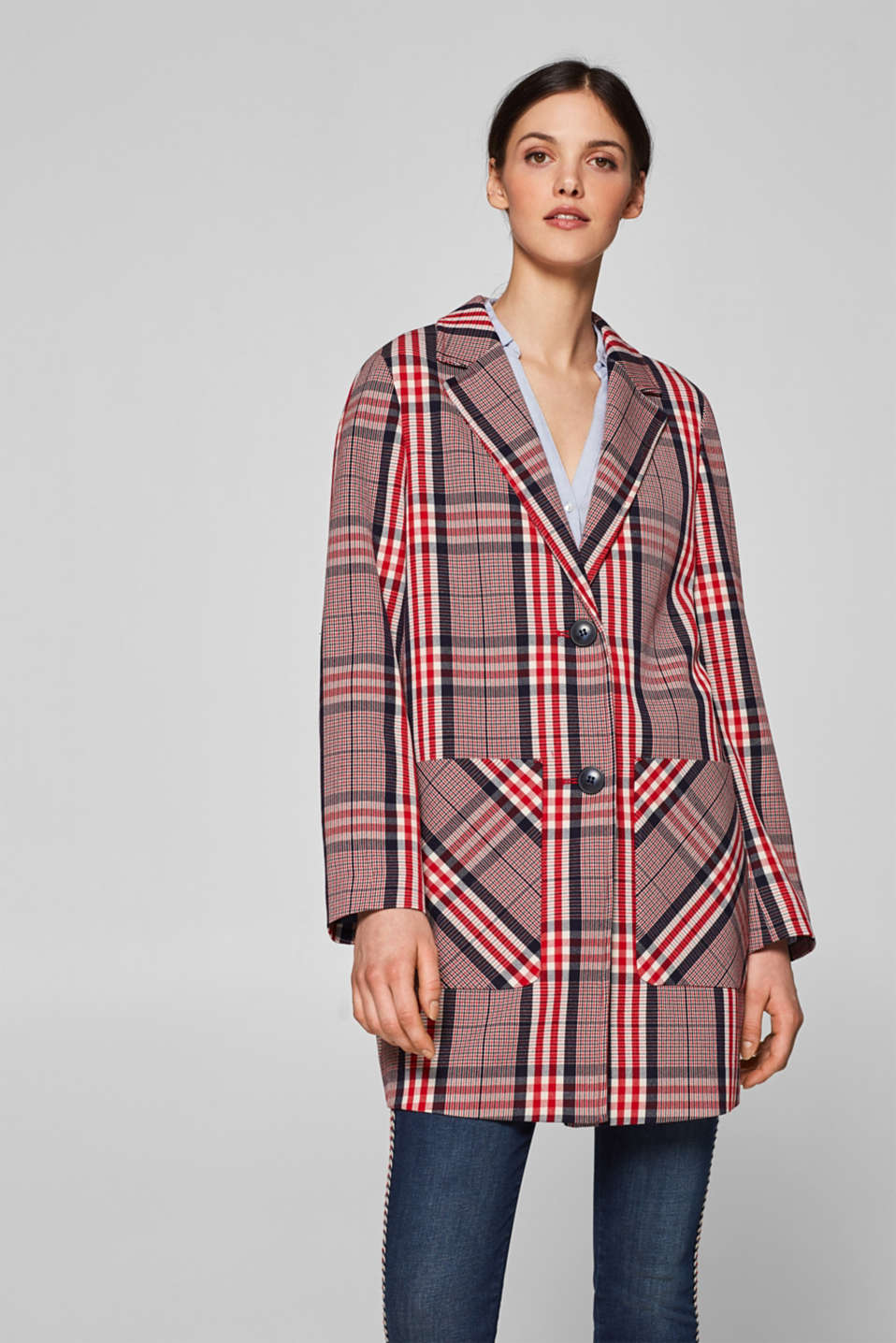 Esprit - Blazer coat with trendy checks and stretch