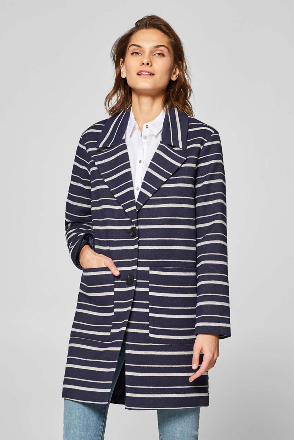 Esprit - Blazer coat with stretch and stripes