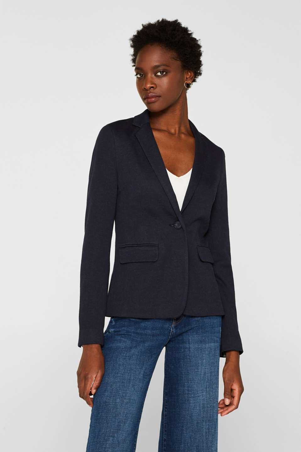 Esprit - Versatile blazer made of melange stretch jersey