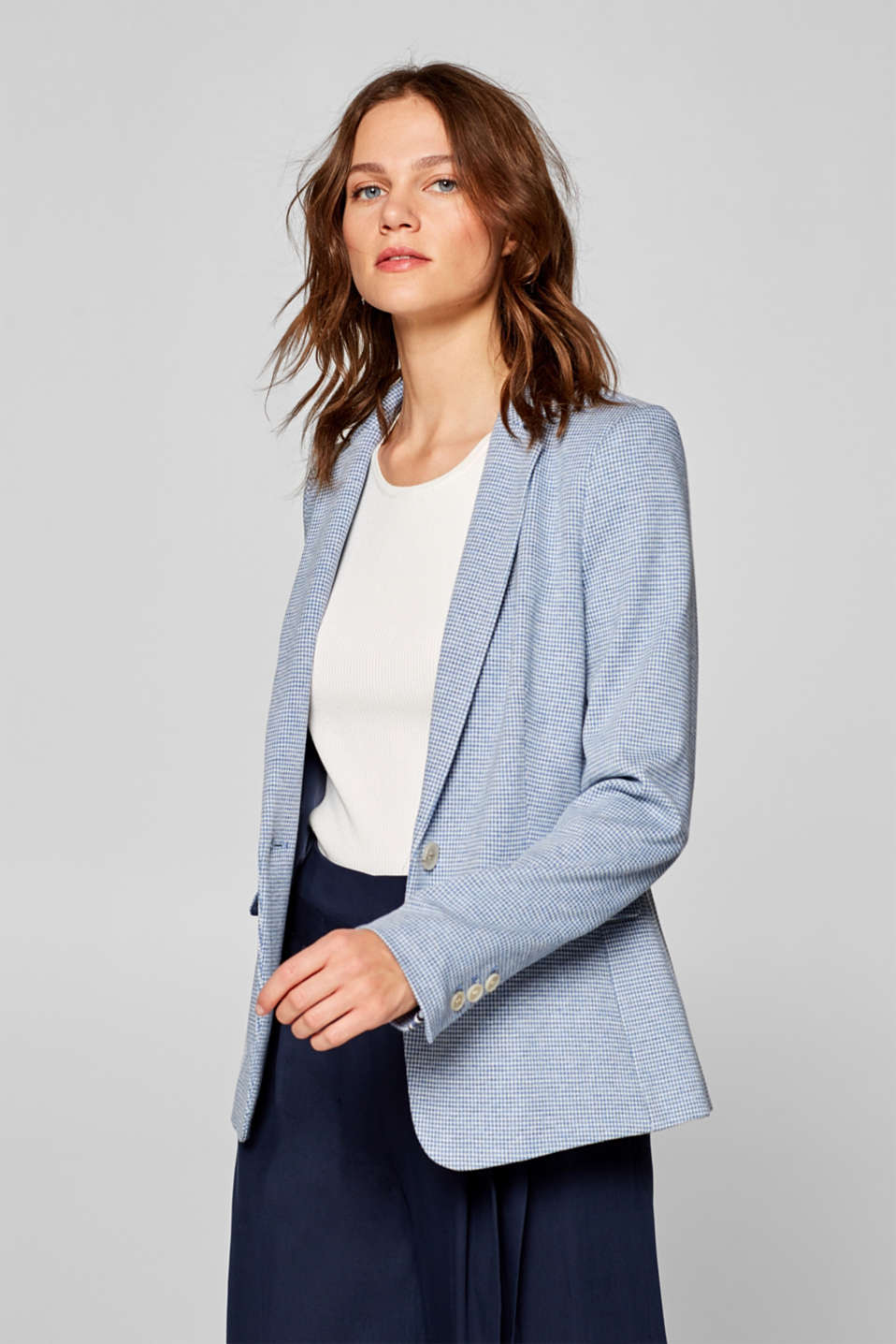 Esprit - Stretch jersey blazer with a houndstooth pattern