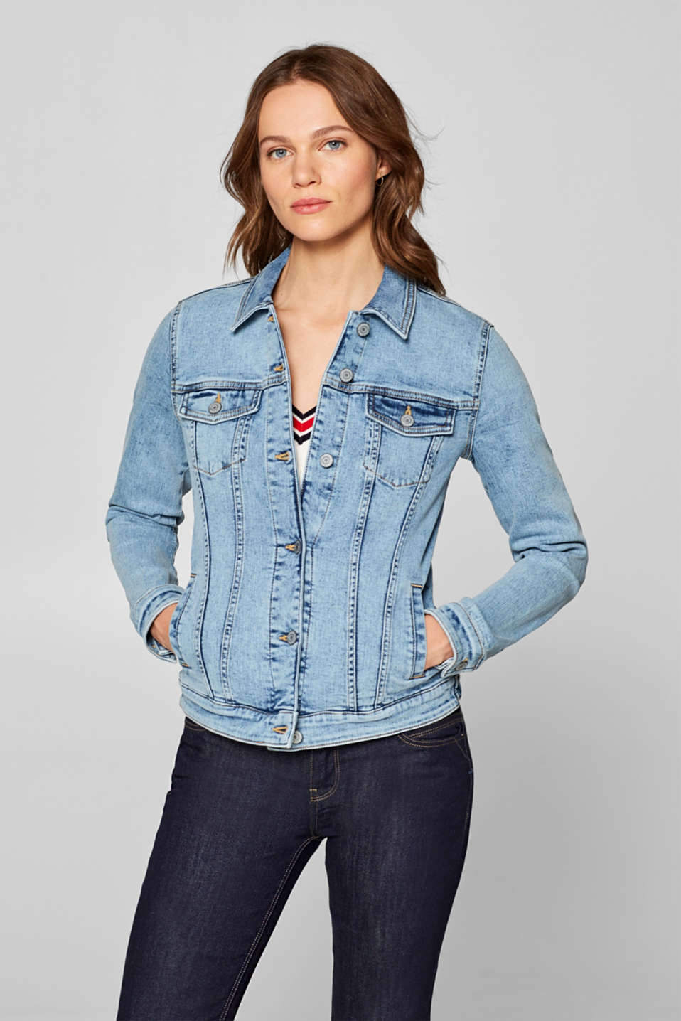Esprit - Stretch denim jacket in a fashionable cut