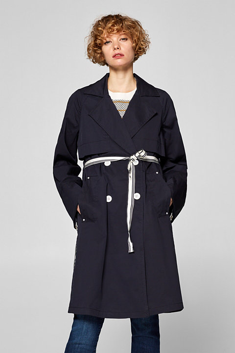 Trench coat with woven tape details