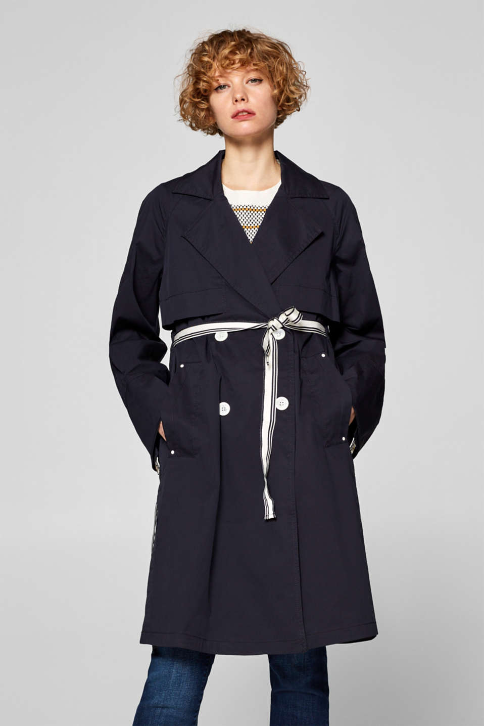 Esprit - Trench coat with woven tape details