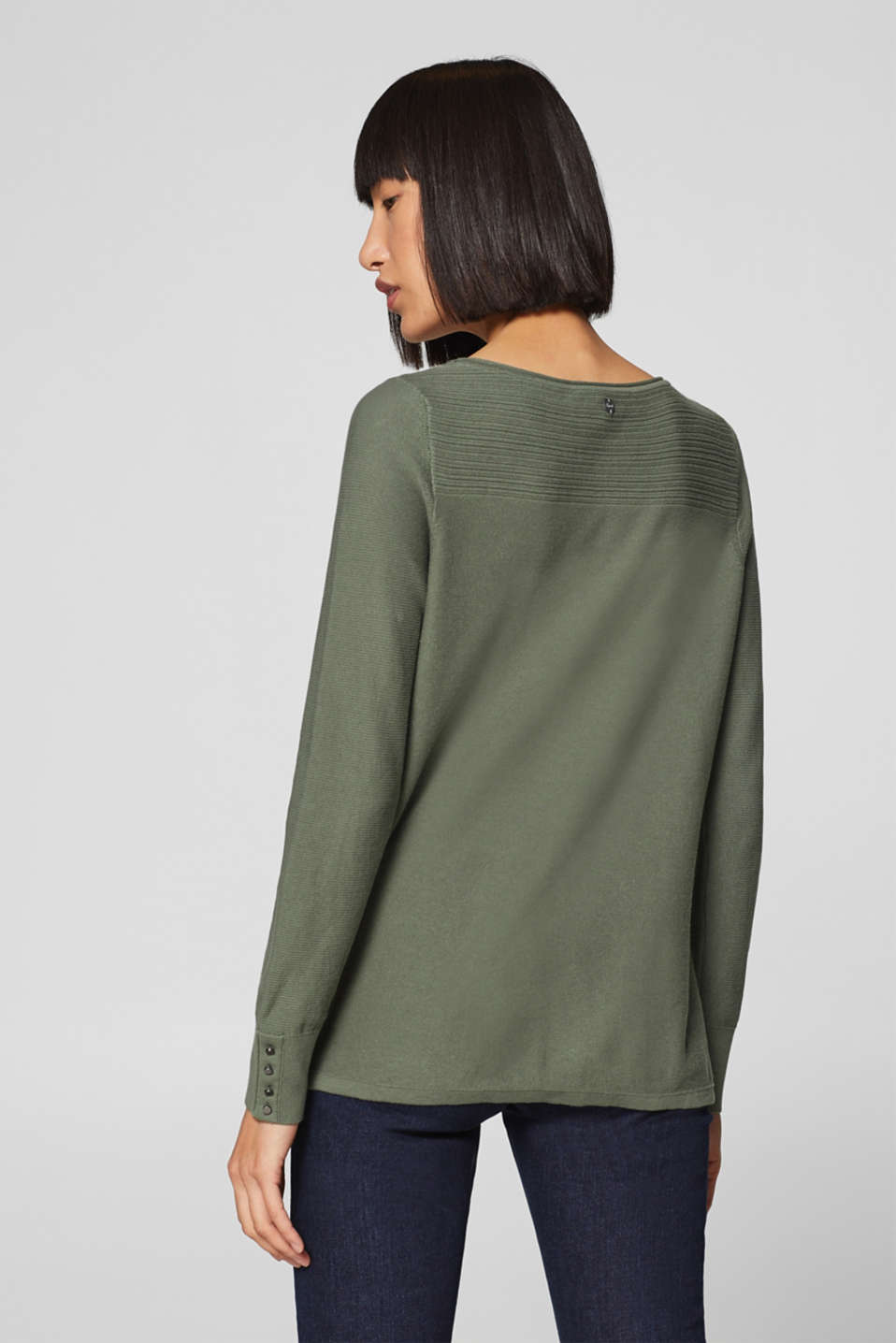 Jumper with a mix of textures, 100% cotton, KHAKI GREEN, detail image number 3