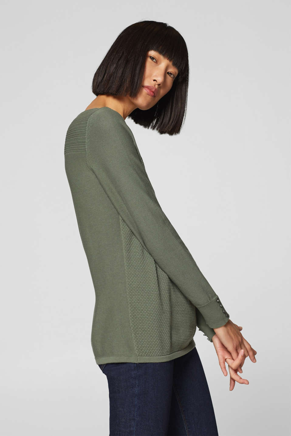 Jumper with a mix of textures, 100% cotton, KHAKI GREEN, detail image number 5