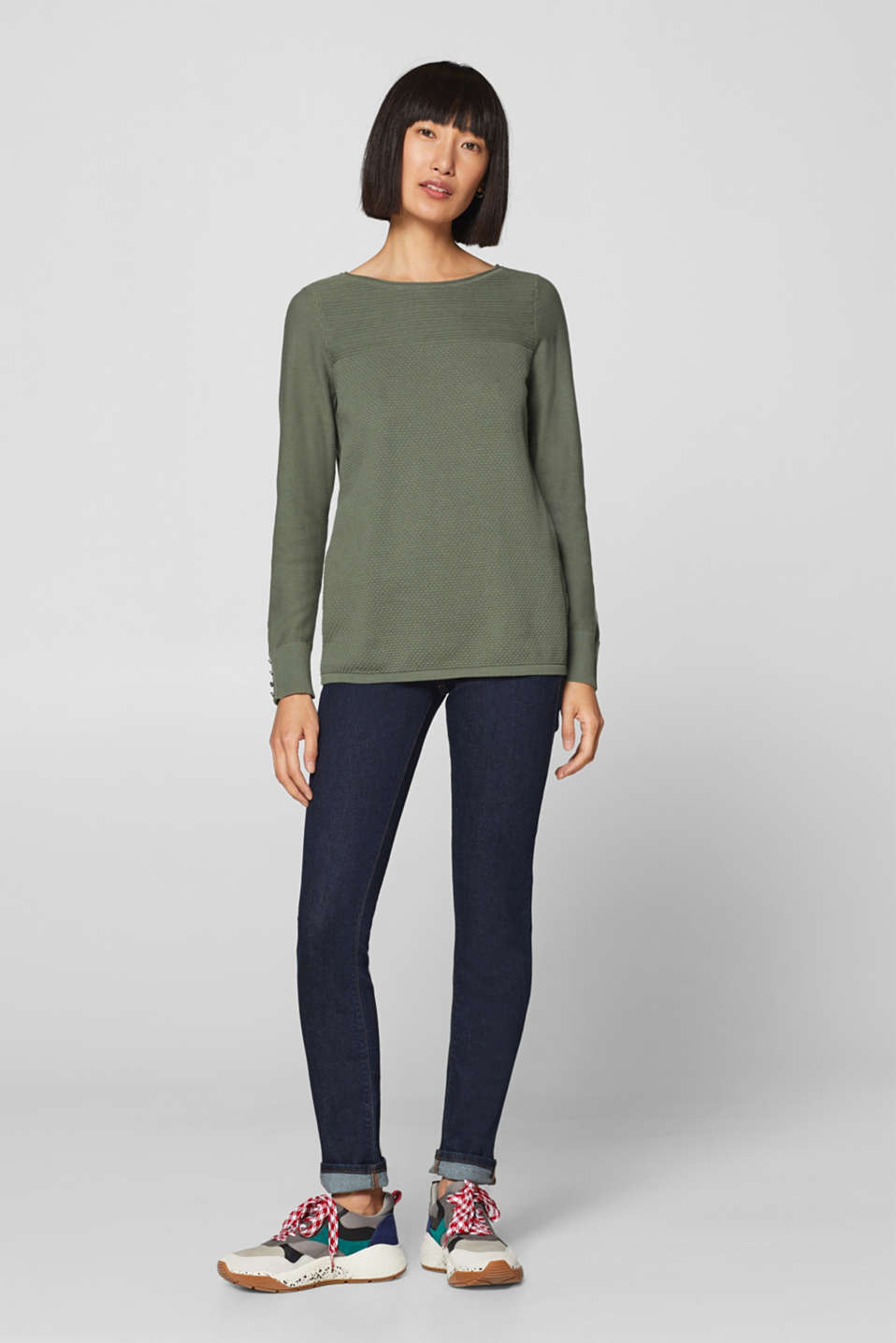 Jumper with a mix of textures, 100% cotton, KHAKI GREEN, detail image number 1