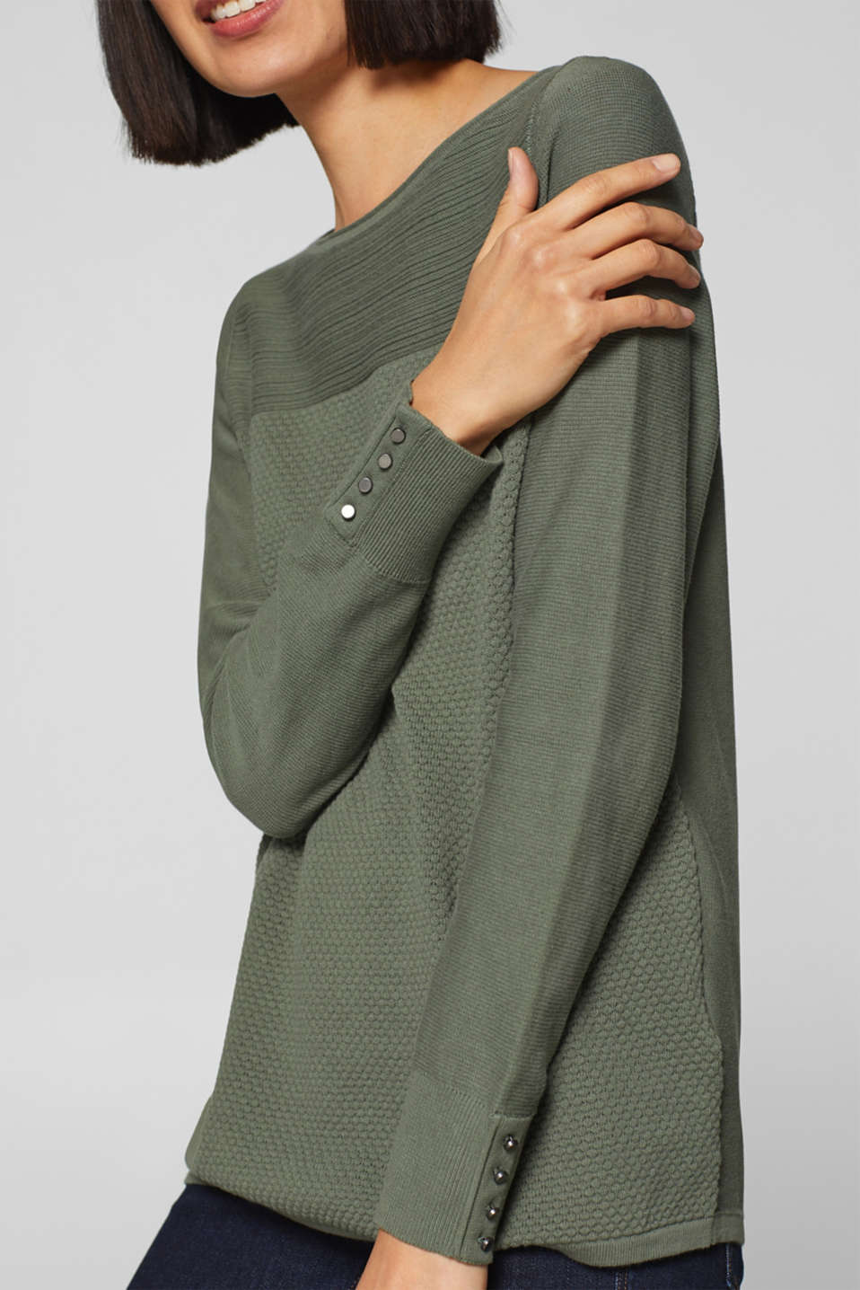 Jumper with a mix of textures, 100% cotton, KHAKI GREEN, detail image number 2