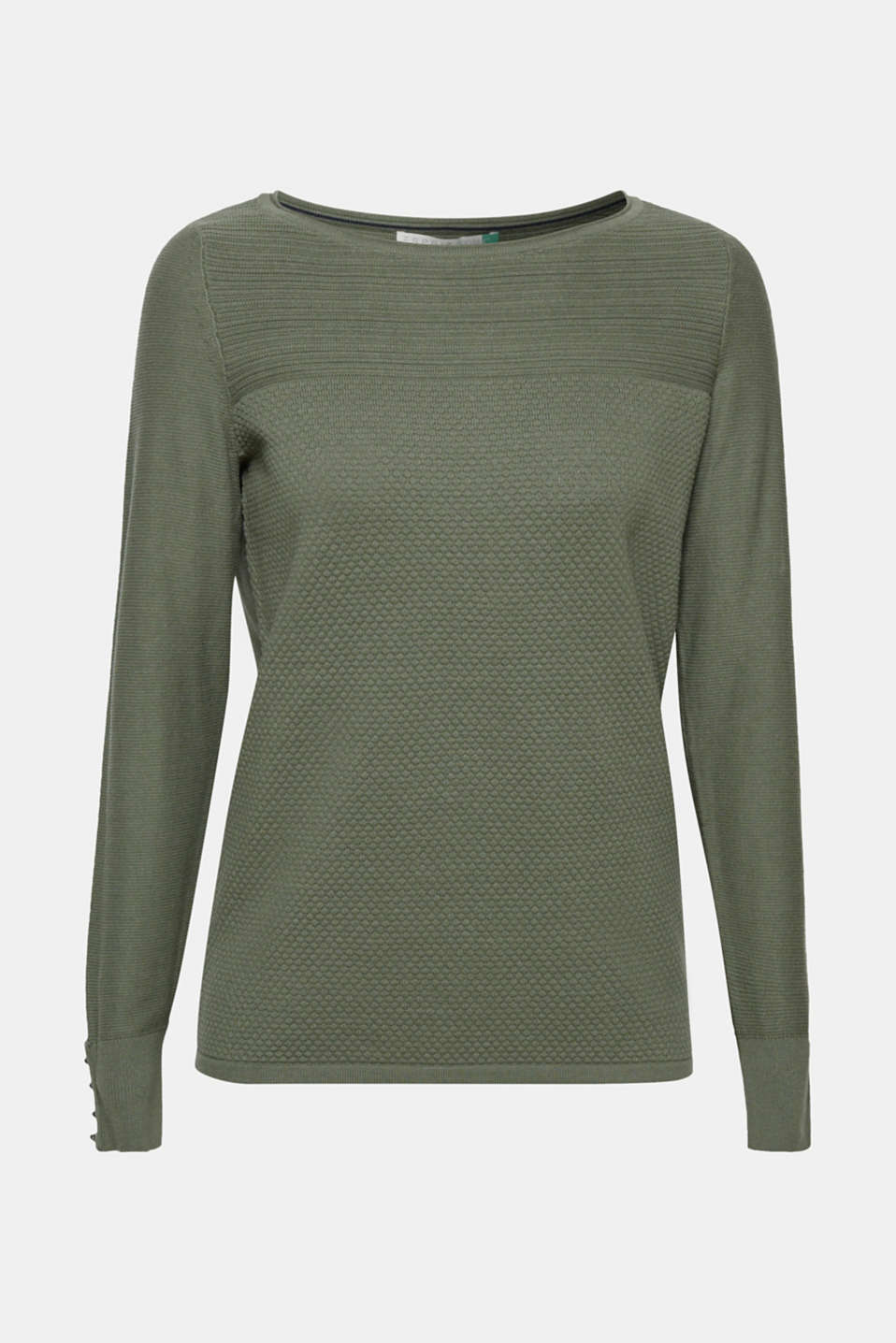 Jumper with a mix of textures, 100% cotton, KHAKI GREEN, detail image number 7