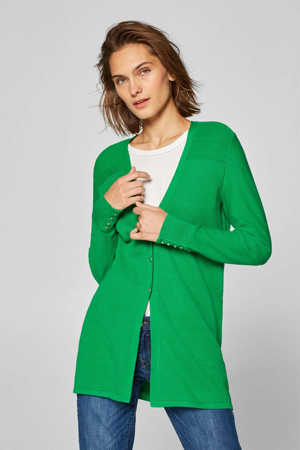 Esprit - Textured long cardigan with organic cotton