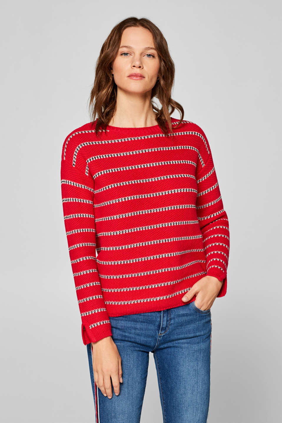 Esprit - Textured jumper with college stripes